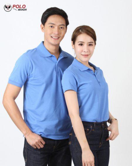 เสื้อโปโล CoolPlus CP011 ผู้ชาย04 สีฟ้า pmkpolomaker