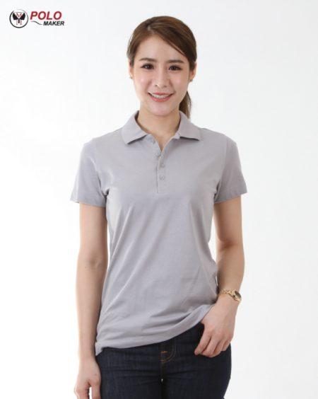 เสื้อโปโล ผู้หญิง CoolPlus CP15 สีเทาอ่อน01 pmkpolomaker