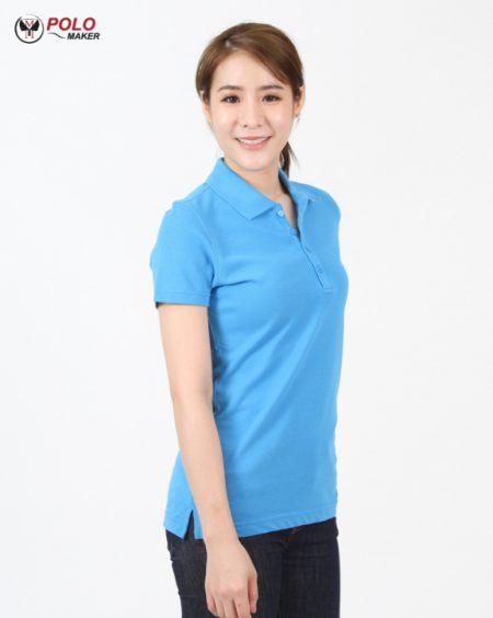 เสื้อโปโลผู้หญิง CQ006 สีฟ้า020 pmkpolomaker
