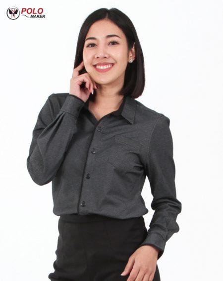 เสื้อเชิ๊ตผู้หญิง สีดำ CT001 pmkpolomaker