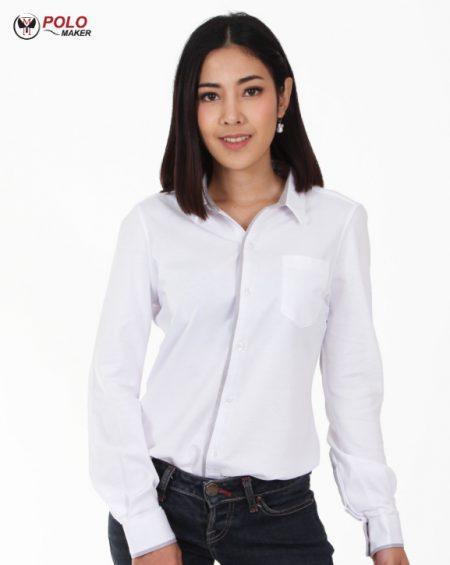 เสื้อเชิ๊ตสีขาวCT002 ผู้หญิง pmkpolomaker