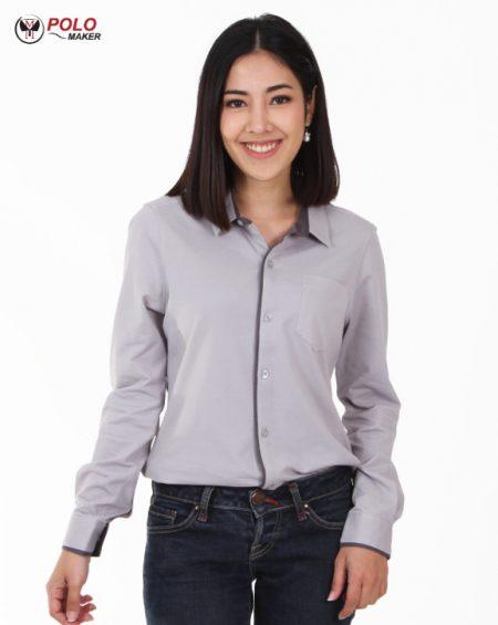 เสื้อเชิ๊ตผู้หญิง สีเทา CT005 pmkpolomaker