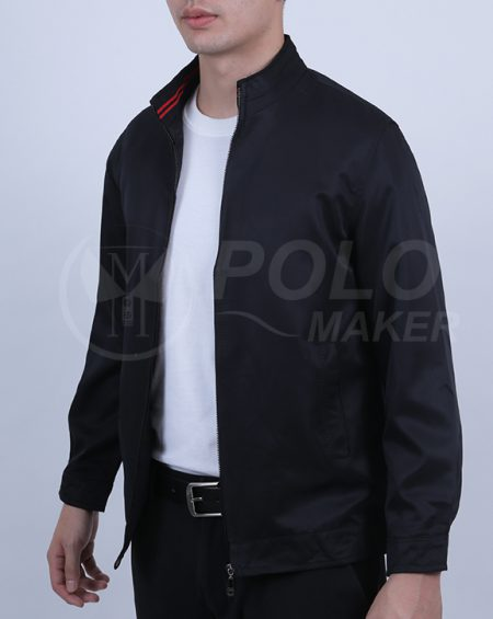 แจ็คเก็ตคอจีน Xinyu สีดำ pmkpolomaker