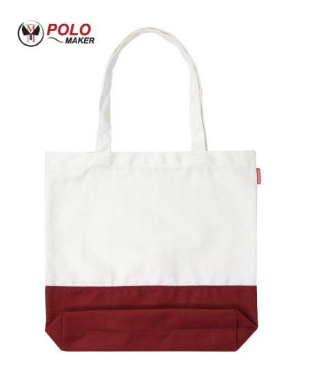 กระเป๋าผ้าแคนวาส02 สีแดง-ขาว pmkpolomaker