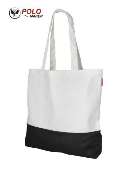 กระเป๋าผ้า แคนวาส สีขาว-ดำ pmkpolomaker