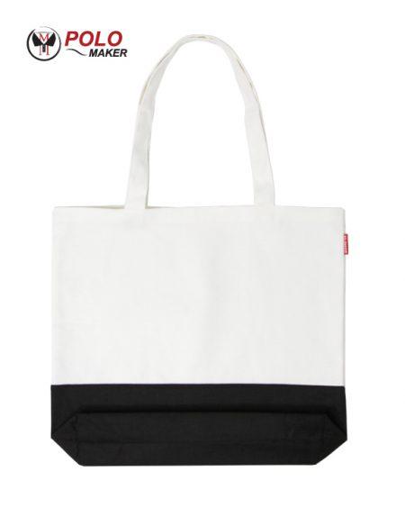 กระเป๋าผ้า แคนวาส02 สีขาว-ดำ pmkpolomaker