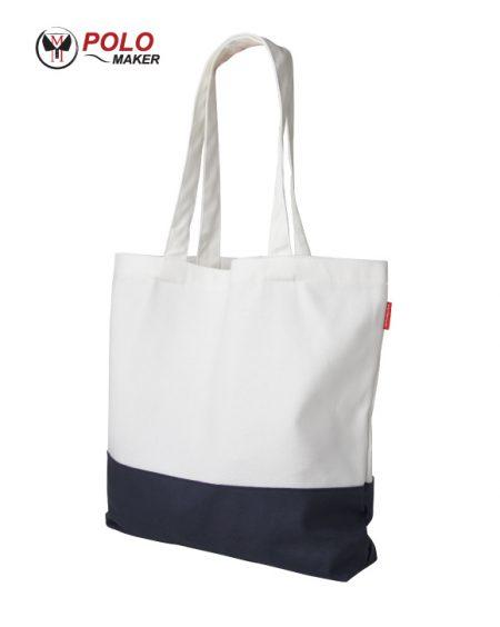 กระเป๋าผ้าแคนวาส สีขาว-กรมท่า pmkpolomaker