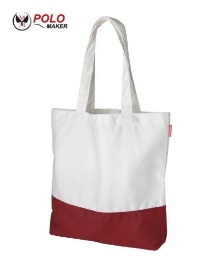 กระเป๋าผ้าแคนวาส สีแดง-ขาว pmkpolomaker