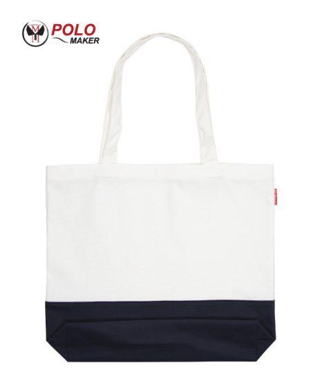 กระเป๋าผ้าแคนวาส02 สีขาว-กรมท่า pmkpolomaker