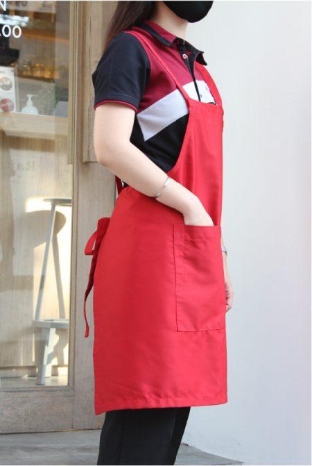 ผ้ากันเปื้อนสำเร็จรูป02 สายไขว้หลัง สีแดง bib apron pmkpolomaker