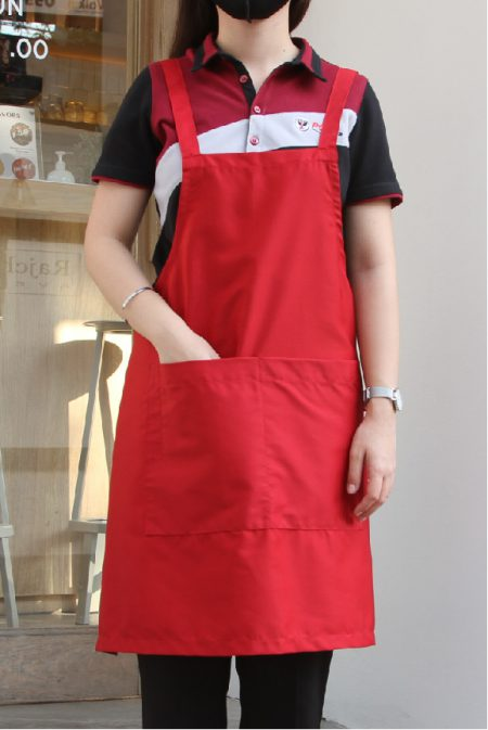 ผ้ากันเปื้อนสำเร็จรูป สายไขว้หลัง สีแดง bib apron pmkpolomaker