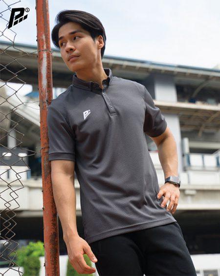 เสื้อกีฬา pmsport สีเทา pmkpolomaker 01