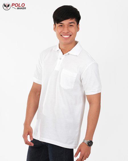 เสื้อโปโล kaneko สีขาว เสื้อโปโลผู้ชาย pmkpolomaker03