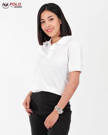 เสื้อโปโล kaneko สีขาว เสื้อโปโลผู้หญิง02 pmkpolomaker
