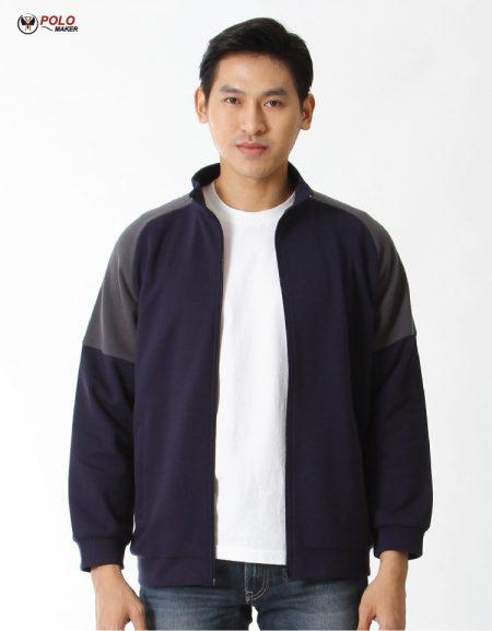 เสื้อวอร์ม Active warm สีน้ำเงิน-เทา หนานุ่ม ใส่สบาย
