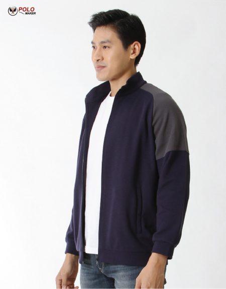 เสื้อวอร์ม Active warm สีน้ำเงิน-เทา02 หนานุ่ม ใส่สบาย