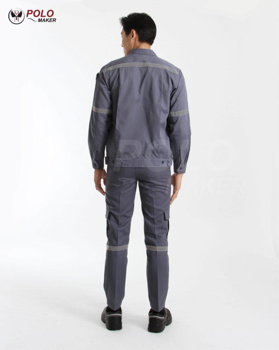 เสื้อช็อปแขนยาว สีเทาเข้ม pmkpolomaker