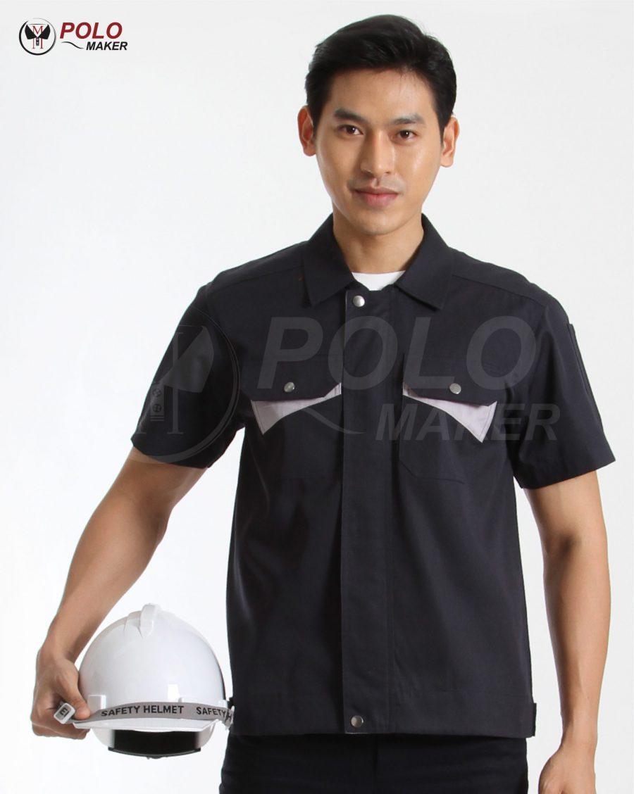 เสื้อช็อป ชุดช่าง03 สีกรมท่า pmkpolomaker